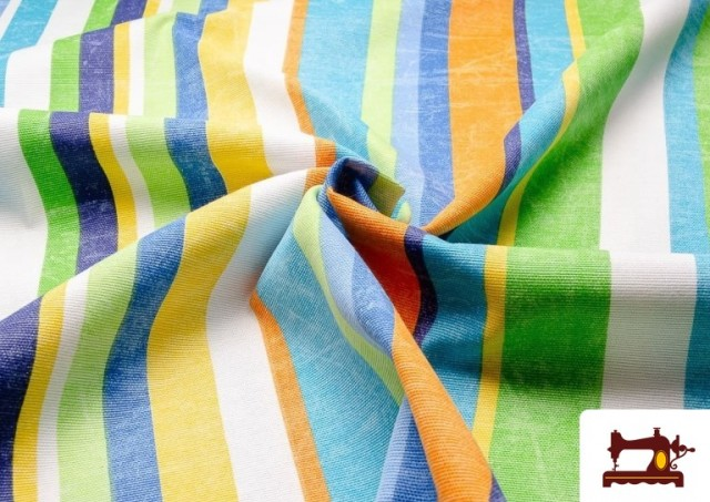 Tissu en Canvas avec Rayures Larges pour Décoration Multicolore couleur Bleu