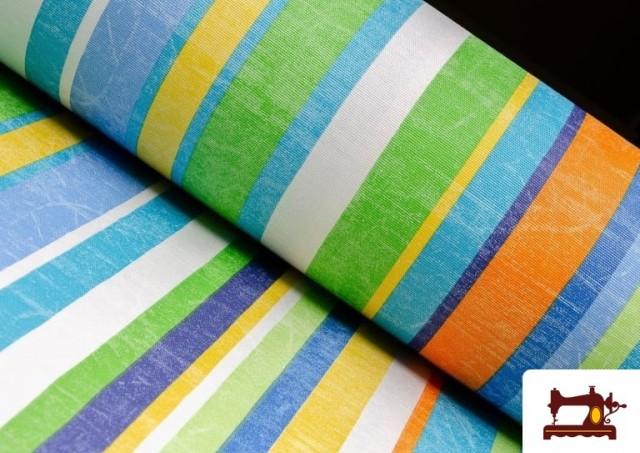 Acheter Tissu en Canvas avec Rayures Larges pour Décoration Multicolore couleur Bleu