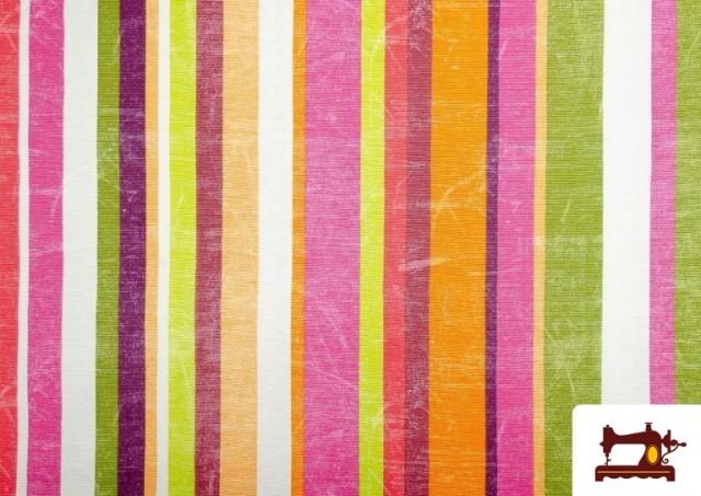 Vente de Tissu en Canvas avec Rayures Larges pour Décoration Multicolore