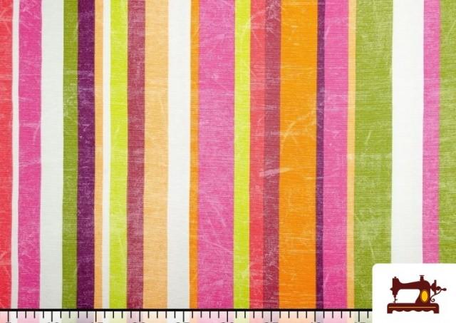 Acheter en ligne Tissu en Canvas avec Rayures Larges pour Décoration Multicolore