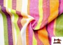 Vente en ligne de Tissu en Canvas avec Rayures Larges pour Décoration Multicolore