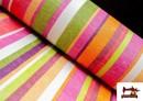 Tissu en Canvas avec Rayures Larges pour Décoration Multicolore