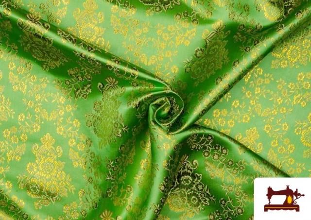 Acheter Tissu en Jacquard avec Fleurs Dorées couleur Vert