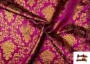 Vente de Tissu en Jacquard avec Fleurs Dorées couleur Fuchsia