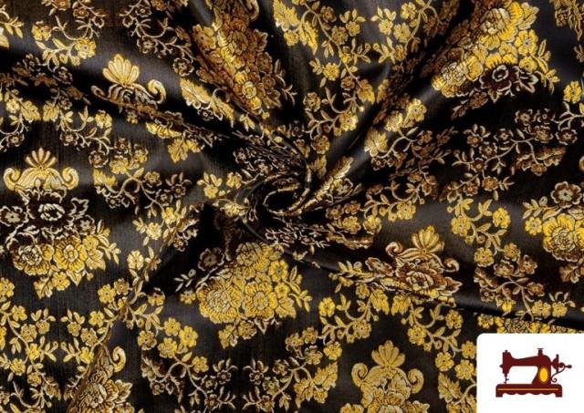 Vente en ligne de Tissu en Jacquard avec Fleurs Dorées couleur Noir
