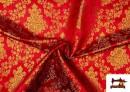 Tissu en Jacquard avec Fleurs Dorées couleur Rouge