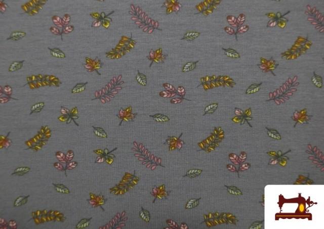 Acheter Tissu de Tee-Shirt Imprimé avec Feuilles Des Saisons couleur Gris