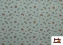 Tissu de Tee-Shirt Imprimé avec Feuilles Des Saisons couleur Vert menthe