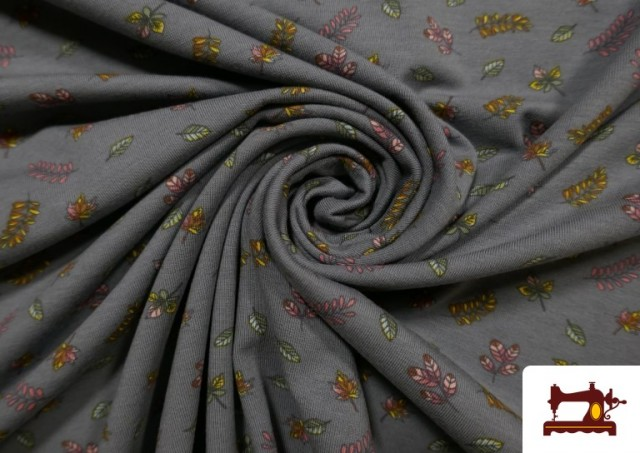 Vente de Tissu de Tee-Shirt Imprimé avec Feuilles Des Saisons couleur Gris