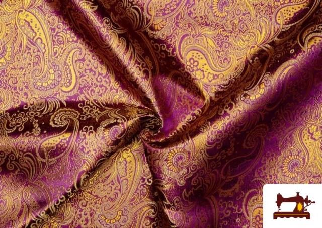 Acheter en ligne Tissu Jacquard en Soie avec Cachemire Doré couleur Violet foncé