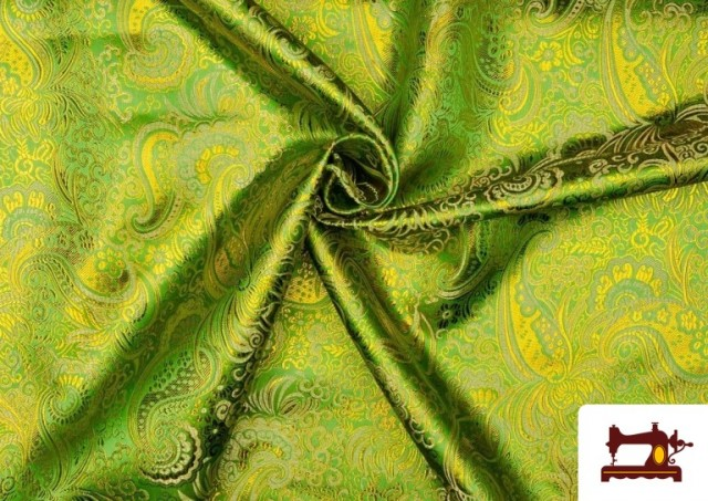 Tissu Jacquard en Soie avec Cachemire Doré couleur Vert