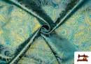 Acheter Tissu Jacquard en Soie avec Cachemire Doré couleur Bleu turquoise