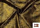 Vente de Tissu Jacquard en Soie avec Cachemire Doré couleur Noir