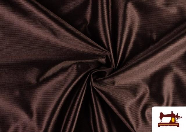 Tissu Satiné/Ketten de Couleurs couleur Brun