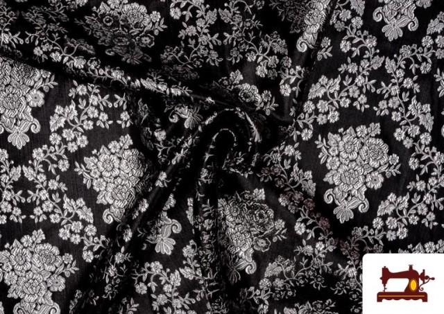 Acheter Tissu en Jacquard avec Fleurs Argentées couleur Noir