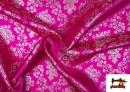 Vente de Tissu en Jacquard avec Fleurs Argentées couleur Fuchsia