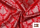 Acheter en ligne Tissu en Jacquard avec Fleurs Argentées couleur Rouge