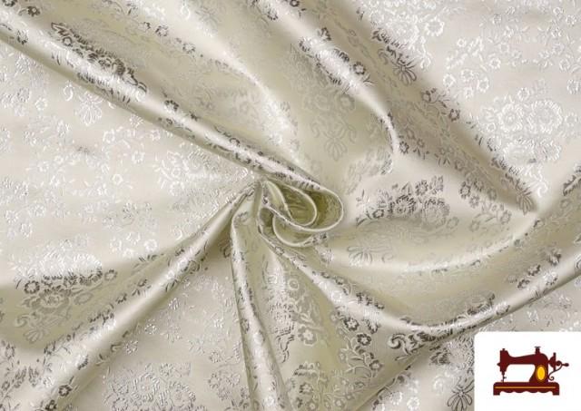 Vente en ligne de Tissu en Jacquard avec Fleurs Argentées couleur Champagne