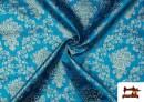 Tissu en Jacquard avec Fleurs Argentées couleur Bleu turquoise