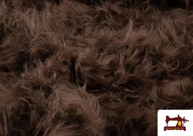 Acheter en ligne Tissu à Poil Long de Couleurs couleur Brun