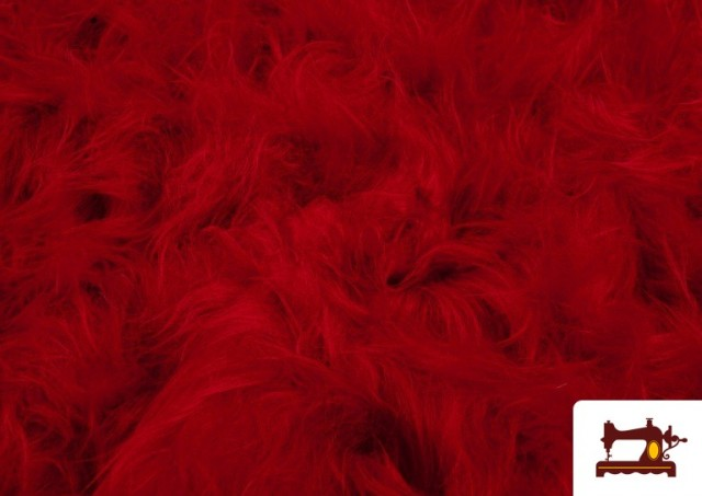 Tissu à Poil Long de Couleurs couleur Rouge