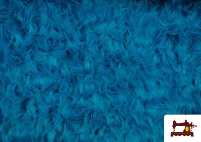 Acheter en ligne Tissu à Poil Long de Couleurs couleur Bleu turquoise