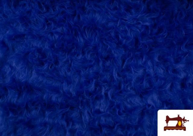 Vente de Tissu à Poil Long de Couleurs couleur Gros bleu