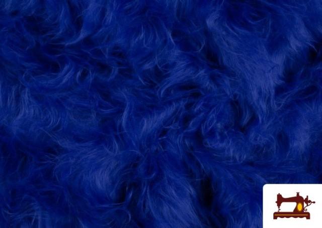 Vente en ligne de Tissu à Poil Long de Couleurs couleur Gros bleu