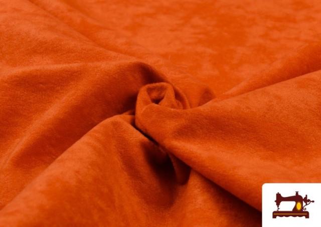 Acheter en ligne Tissu en Daim de Couleurs couleur Orange
