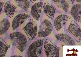 Tissu Fat Quater en Coton avec Éventails pour Patchwork