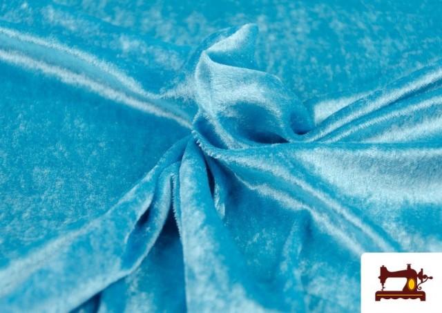 Tissu en Velours Économique couleur Bleu