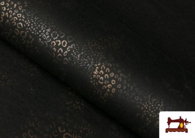Tissu Style PuntRoma avec Imprimé Léopard Brillant couleur Brun