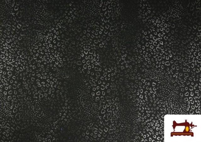 Vente de Tissu Style PuntRoma avec Imprimé Léopard Brillant couleur Gris clair