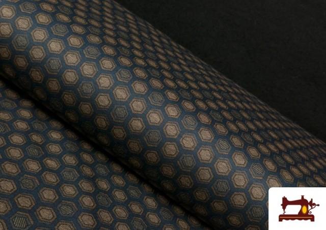Tissu Style PuntRoma avec Hexagones de Couleurs couleur Bleu Marine