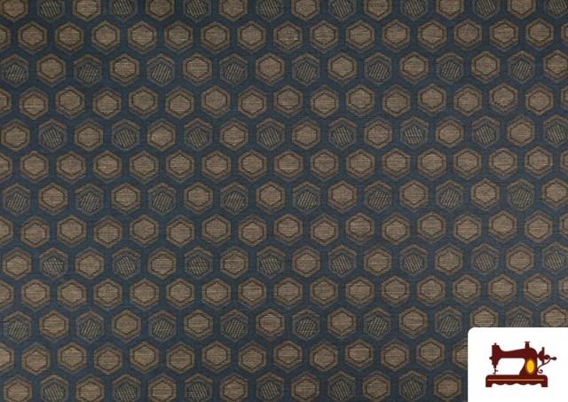 Acheter Tissu Style PuntRoma avec Hexagones de Couleurs couleur Bleu Marine