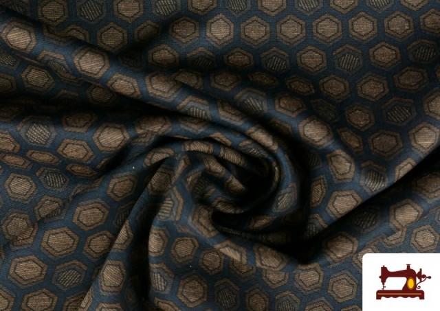 Acheter en ligne Tissu Style PuntRoma avec Hexagones de Couleurs couleur Bleu Marine