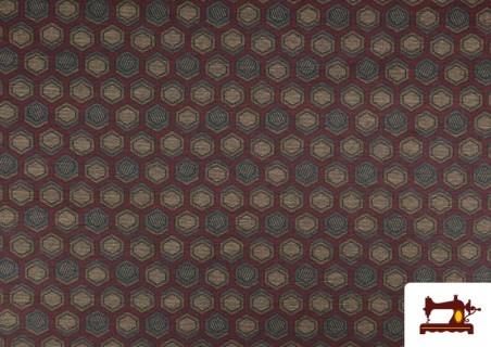 Tissu Style PuntRoma avec Hexagones de Couleurs couleur Grenat