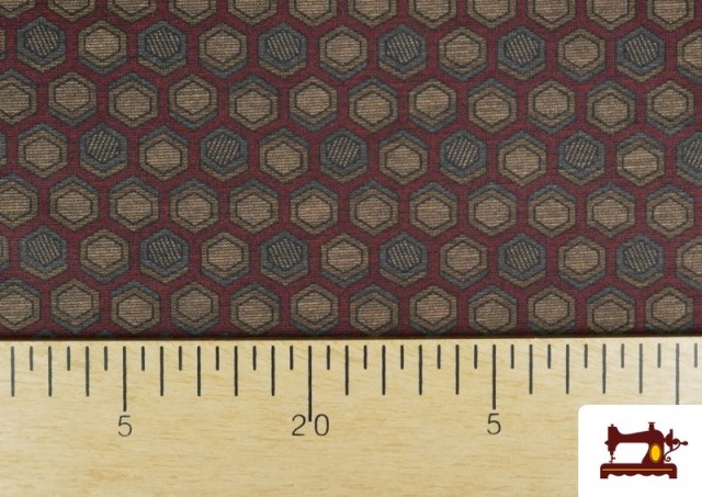 Vente de Tissu Style PuntRoma avec Hexagones de Couleurs couleur Grenat
