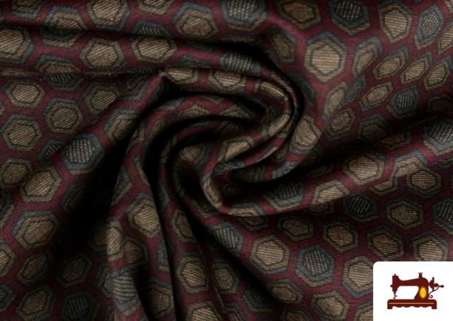 Acheter en ligne Tissu Style PuntRoma avec Hexagones de Couleurs couleur Grenat