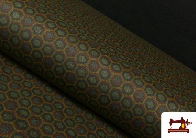 Vente en ligne de Tissu Style PuntRoma avec Hexagones de Couleurs couleur Kaki
