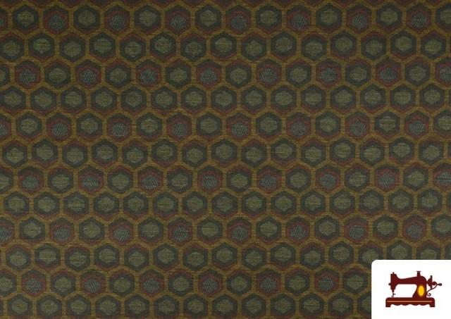 Tissu Style PuntRoma avec Hexagones de Couleurs couleur Kaki