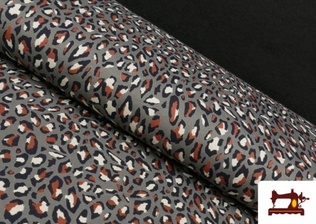 Tissu en Viscose avec Imprimé Léopard Sauvage couleur Gris