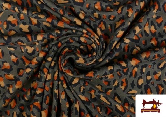 Acheter en ligne Tissu en Viscose avec Imprimé Léopard Sauvage couleur Brun