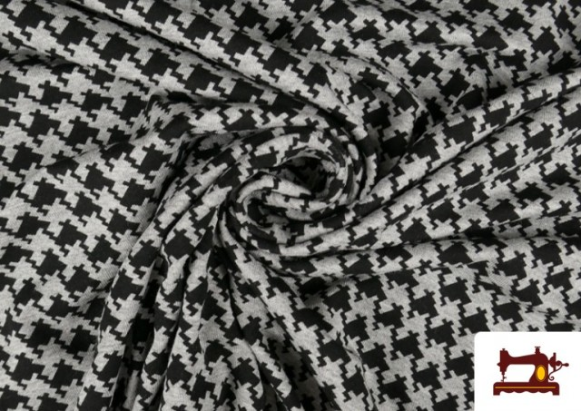 Acheter en ligne Tissu en Viscose avec Imprimé Pied-de-Poule
