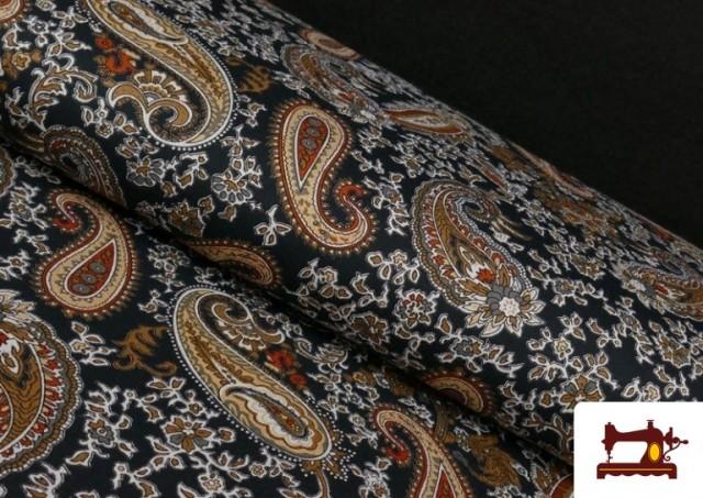 Tissu en Viscose avec Imprimé Cachemire Grand couleur Noir