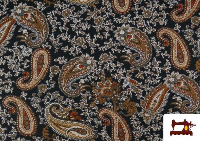 Acheter Tissu en Viscose avec Imprimé Cachemire Grand couleur Noir
