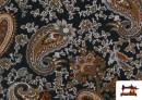 Vente de Tissu en Viscose avec Imprimé Cachemire Grand couleur Noir