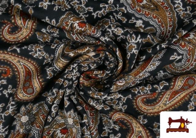 Acheter en ligne Tissu en Viscose avec Imprimé Cachemire Grand couleur Noir