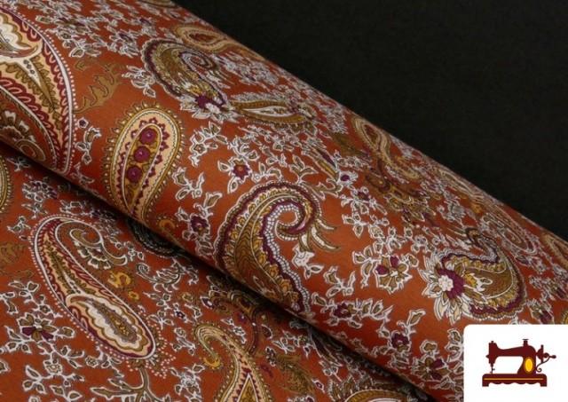 Vente en ligne de Tissu en Viscose avec Imprimé Cachemire Grand couleur Tuile