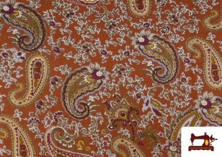 Tissu en Viscose avec Imprimé Cachemire Grand couleur Tuile